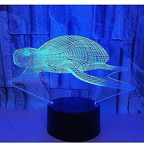 Sea Turtle 3d led Lámpara 7 Color Mesa Luz nocturna para niños ...
