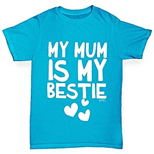 Twisted Envy Girl's My Mum Is My Bestie Cotton T-Shirt, Comfortable and Soft Classic Tee with Unique Design Age 3-4 Azure Blue