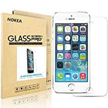 iPhone 5S Screen Protector, NOKEA [9H Hardness] [Crystal Clear] [Easy Bubble-Free Installation] [Scratch Resist] Tempered Glass Screen Protector for Apple iPhone 5 5S SE (For 5/5S/SE/5C)