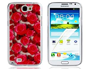 Rose Print Glitter Plastic Case for Samsung Galaxy Note 2/N7100 (Red)