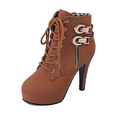SOIXANTE Bottines femme talon aiguille plateforme boots zippé pour  l automne hiver a5161bf2f310