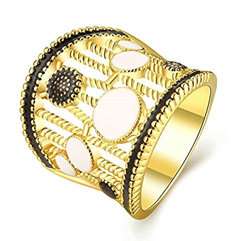 Gnzoe Jewelry 18K Gold Plated Women Rings Design Hollow Geometry Size 7 (Platinum Brand Iphone 6 Plus Case)