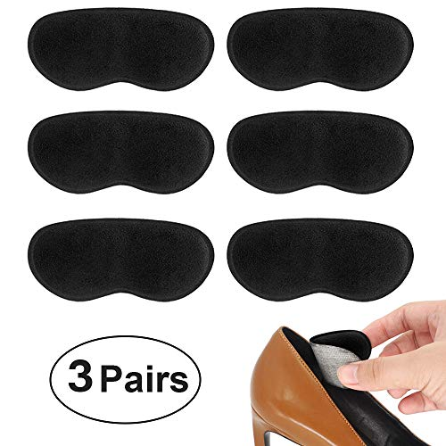 Beautulip Heel Grips Liner for Loose Shoes Adhesive Back of Heel Cushions Anti-Slip Foam Inserts Heel Protectors - Comfortable Insole for Heels Pack of 6 (Black) ()