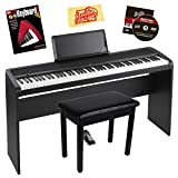 Korg B1 Digital Piano Bundle with Korg STB1 Stand, Sustain Pedal, Furniture-Style Bench, Instructional Book, Austin Bazaar Instructional DVD, and Polishing Cloth - Black