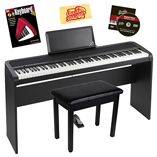 Korg B1 Digital Piano Bundle with Korg STB1 Stand, Sustain Pedal, Furniture-Style Bench, Instructional Book, Austin Bazaar Instructional DVD, and Polishing Cloth – Black