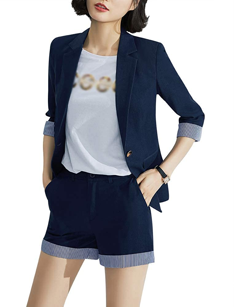 Dark bluee1902 SUSIELADY Women's Business Suit Pants Sets Formal Office Business Work Short Pants