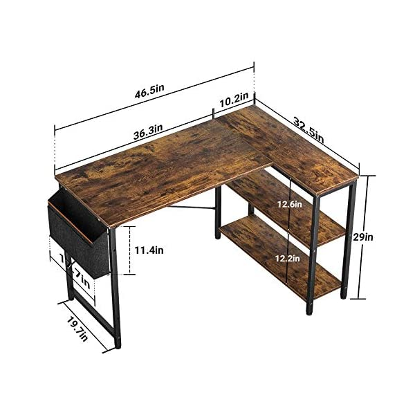 Small L Shaped Computer Desk Besiture 47 Inch L Shaped Corner Desk With Reversible Storage Shelves For Home Office Workstation Modern Simple Style Writing Desk Table With Storage Bag Rustic Brown Shop Online