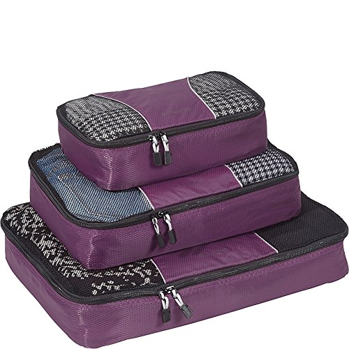 eBags Classic Packing Cubes for Travel - 3pc Set - (Eggplant) ()