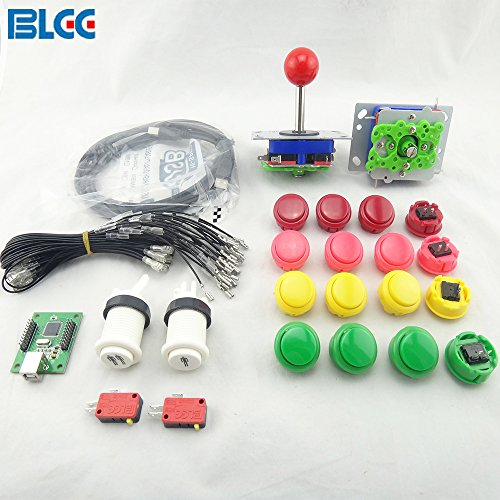 BLEE Arcade Kit 2 pcs 4 8 Way Joysticks 16pcs Push Button 2 Players (1p+2p) with Microswitch USB to Jamme Control Board to Build Up Arcade Machine DIY by BLEE
