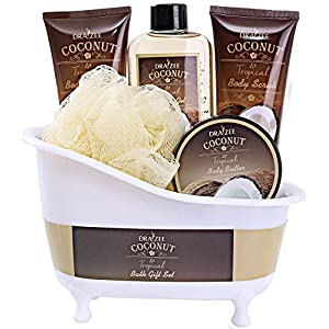Spa Gift Basket Coconut Fragrance, Luxurious 5pc Gift Baskets for Women with Bathtub Holder – #1 Best Gift for Mom on Mothers day Includes Body Scrub, Body Lotion, Shower Gel, Body Butter & More