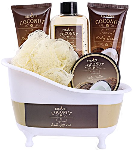 Spa Gift Basket with Refreshing Coconut Fragrance by Draizee – Luxury Bath & Body Set Includes 100% Natural Gel's Lotion's & Much More! – #1 Best Gift Idea for Holiday, Christmas for Men & Women