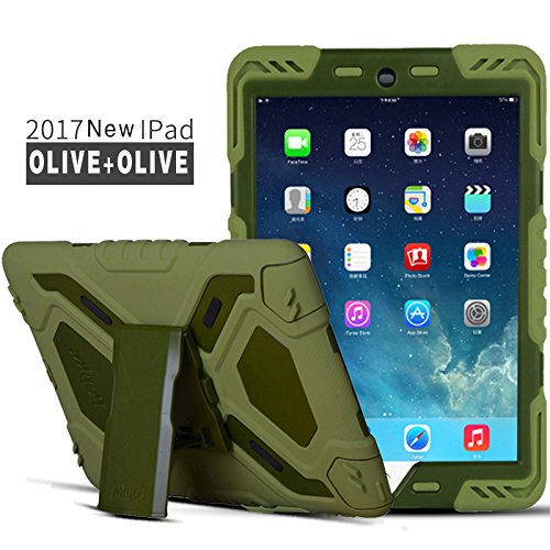 - iPad Case iPad 9.7 inch 2018/2017 Case, Meiya Waterproof Drop Anti-dust Limit Military Heavy Cover iPad Children's Earthquake Protection Cover Apple iPad 2017/20180 9.7 inch(Olive+Olive)