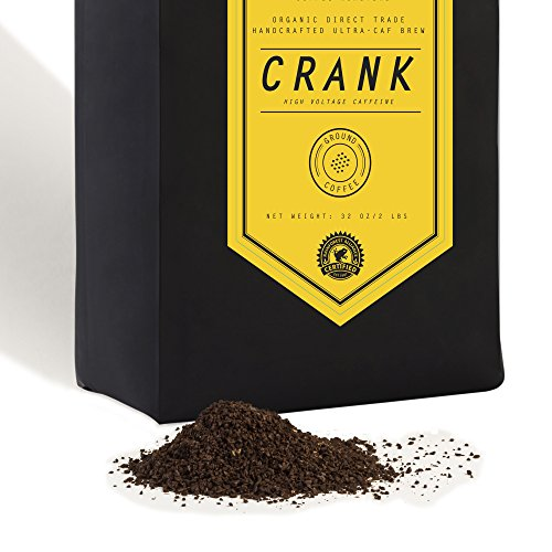 Crank High Voltage Ground Coffee Beans - Small Batch, Certified Organic - Double The Caffeine Of Average Cup 32 oz 2 lb Handcrafted Micro Roast By Stack Street
