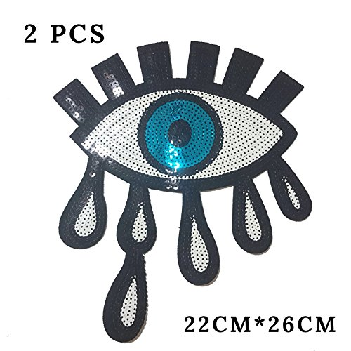 Special100% 2 PCS Large Blue Eyes Patches,Iron On Patches Or Sew on for clothing Glitter Sequin Embroidered, Red sequins Lip Patch DIY Motif embroidered applique Craft