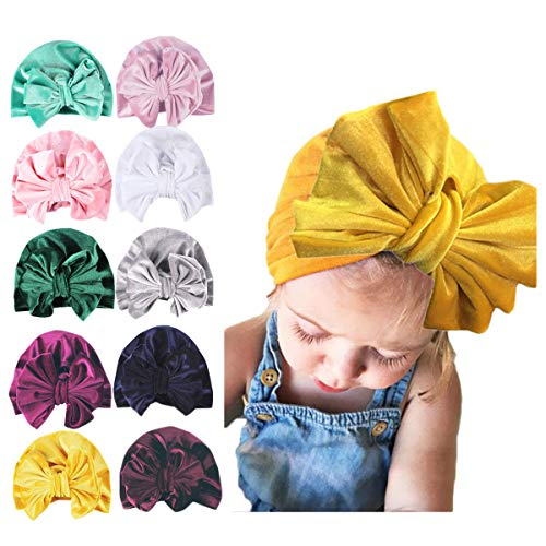 Newborn Baby Velvet Turban Knot Bow Cap Elastic Sretch Head Wrap Beanie Hat (navy blue)