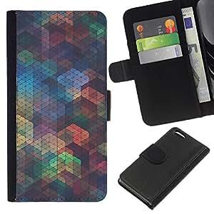 KLONGSHOP // Tirón de la caja Cartera de cuero con ranuras para tarjetas - Patrón Polígono iridiscente trullo Formas - Apple Iphone 5C //