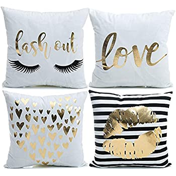 YNester 4 Pack Bronzing Decorative Throw Pillow Case Cushion Covers, Love Lips Solid Cushion Covers Pillowcases for Sofa Bedroom Car Pillow Covers 18x18 Inch White