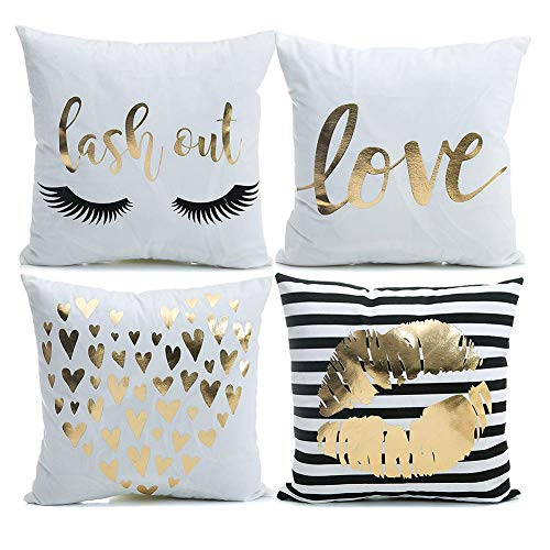 (YNester 4Pcs New Home Décor Throw Pillow Cover Super Soft Gold Foil Decorative Cushion Cover 18 x 18 inches Eyelashes Lips Love Printed Pillow Case for Sofa Chair Car Bed (White))