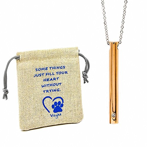 Vilight Pet Memorial Jewelry Urn Necklace - Rose Gold Stainless Steel Ashes keepsake for Dog Cat with Loss of Pet Gifts kit and Free 20 Inch Chain
