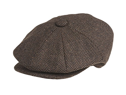 Peaky Blinders Men's 8 Piece 'Newsboy' Style Flat Cap Wool (M (57 cm), Brown Herringbone)