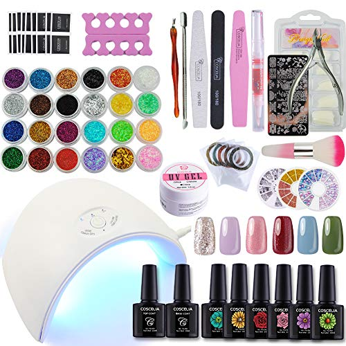 Nail Art Starter - Coscelia 6 Colors Gel Nail Polish Kit with 36W LED Nail Dryer lamp Base Top Coat Manicure Tools Nail Art Design Starter Kit