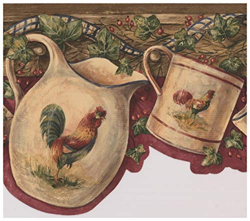 Red Rooster Border (White Cup Kettle with Rooster Hanging on Hooks Red Berries Maroon Vintage Wallpaper Border Retro Design, Roll 15' x 7.5