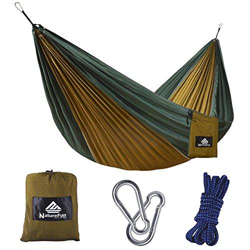 NatureFun Tragbare 275*140cm Ultra-Leichte 100% Fallschirm-Nylon Reise Camping Hängematte für Backpacker, Camping, Jagen, Strand, Hof
