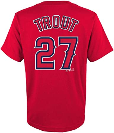 Mike Trout Los Angeles Angels #27 Red Youth Name and Number Jersey T-Shirt