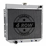 Primecooling 62MM 4 Row Core Aluminum Radiator for Ford Mustang Torino Ranchero, Mercury Comet Cougar, l6 V8 Engine 1963-77