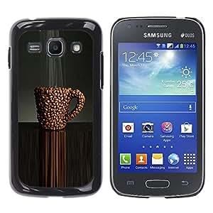 YOYOYO Smartphone Protección Defender Duro Negro Funda Imagen Diseño Carcasa Tapa Case Skin Cover Para Samsung Galaxy Ace 3 GT-S7270 GT-S7275 GT-S7272 - cafetería cafeína café negro haba marrón