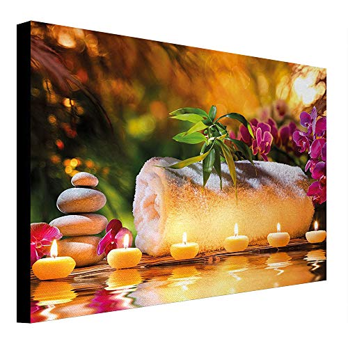 (depinshangmao Spa Canvas Painting Asian Classic Spa Day Joy in The Garden with Romantic Candles and Orchids Canvas Wall Art Purple White and Green 31