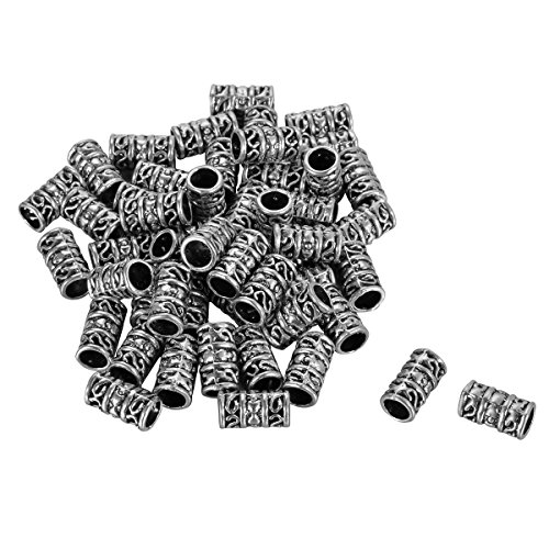 er Tone Tube Spacers Beads Fit Charm Bracelet 12x6mm (Silver Tone Tube)