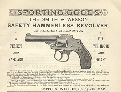 1889-ad-smith-wesson-safety-hammerless-revolver-32-caliber-original-vintage-advertisement