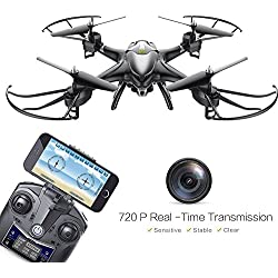 Holy Stone HS200W FPV RC Drone with HD Wifi Camera Live Feed 2.4GHz 4CH 6-Axis Gyro Quadcopter with Altitude Hold, Gravity Sensor and Headless Mode RTF Helicopter, Color Black