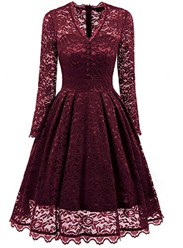 Collar Waist Women Lace Sleeve Long Neck Dresses Red Wine Coolred V Notch Uw0qx88