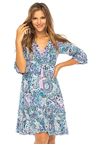 Back From Bali Womens Boho Summer Dress Short, Casual Vintage Print Tunic Dress Blue Small - Hippie Vintage Tunic