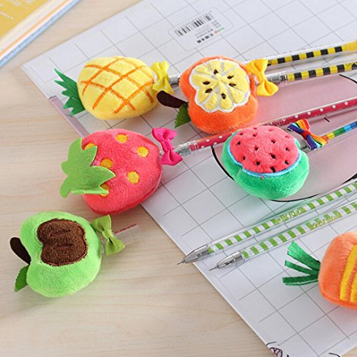 Inverlee Back to School Supplies, Cute Vegetable Fruit Plush Ball Creative Gel Pen Smooth Writing (Strawberry) by Inverlee School&Office Supplies (Image #4)