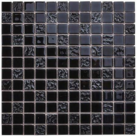 Mosaique En Verre Carreaux Noir Filet Carrelage Mural Credence