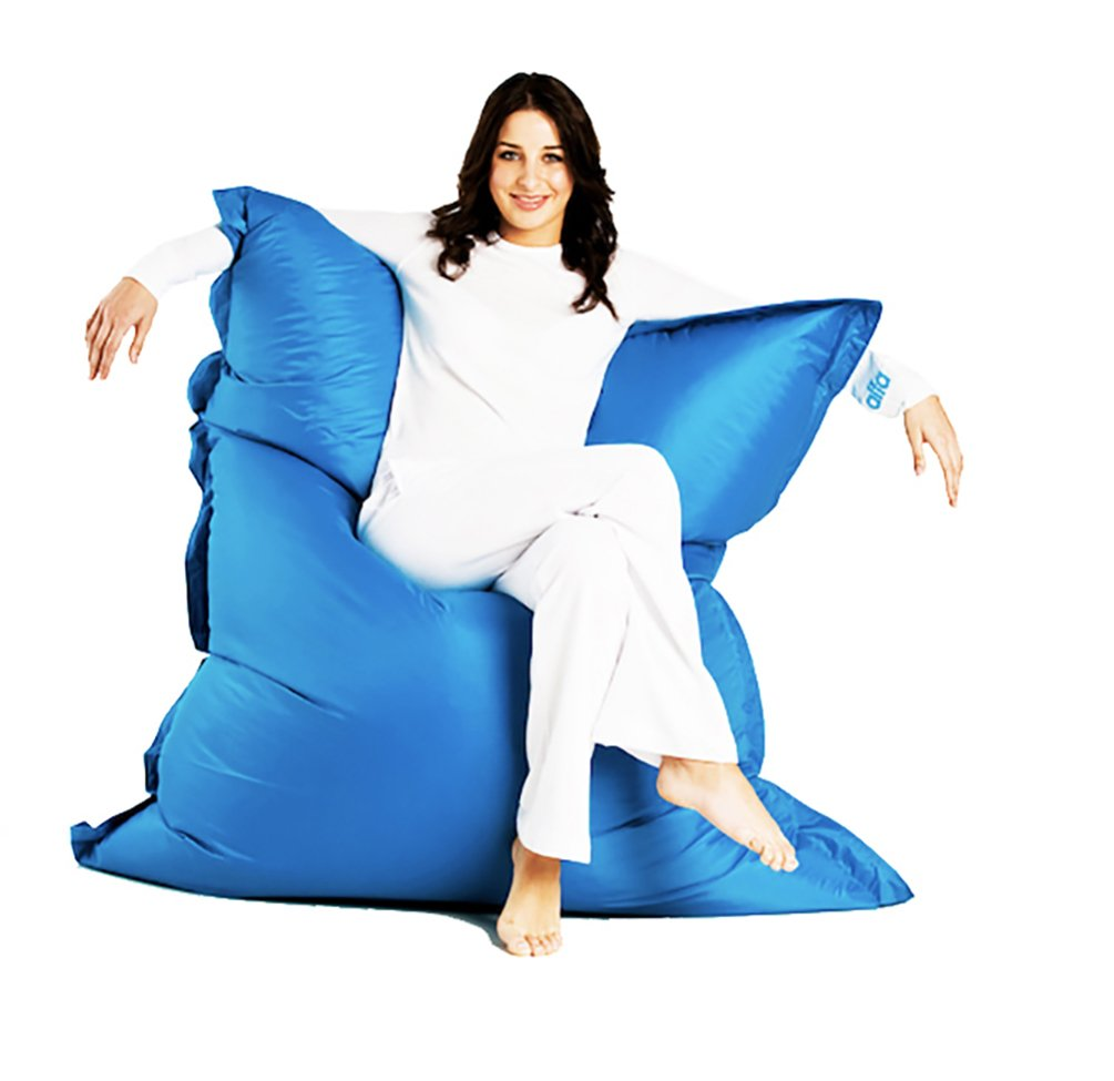 """Alta Jumbo Bean Bag Chair (COVER ONLY) Big Sofa Cover Made Stain and Water Resistant for Indoor and Outdoor Use. 63"""" x 51"""", Aqua"""