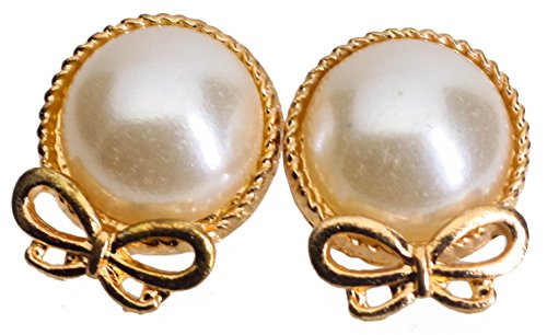 CAETLE Gloden Big Bow Knot Cute Simulated Pearl Ball Stud Earrings for Lady Girl