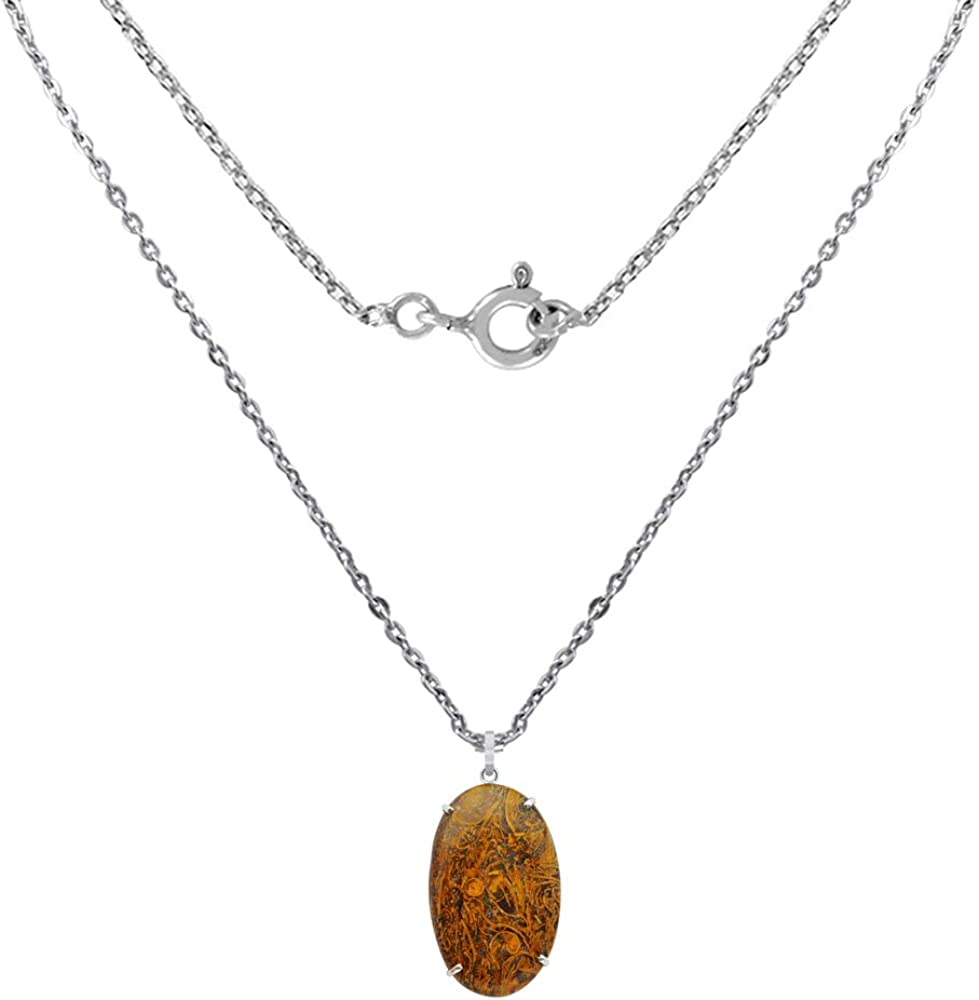 A Lovely Long Chain Pendant Necklace Set For Women In Silver With A Vintage Vibe Orchid Jewelry 75 Natural Oval Brown Ocean Jasper Sterling Silver Pendant Necklace With an 18 Inch Chain