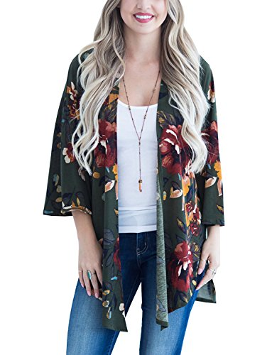 BB&KK Women Kimono Vintage Floral Cardigan Long Swimwear Cover Ups Beach Robe Cape Deep Green Large