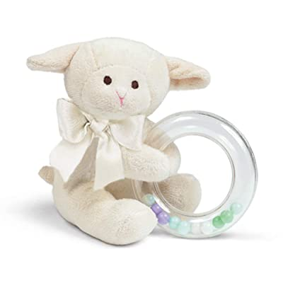 "Bearington Baby Lamby Plush Stuffed Animal Cream Lamb Shaker Toy Ring Rattle, 5.5"" : Baby Rattles : Baby"