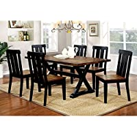 Furniture of America Lara Farmhouse Style 7-piece Two-tone Antique Oak & Black Dining Set