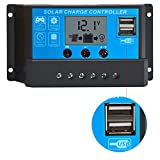 PowerEZ 20Amp PWM Solar Charge Controller Solar Panel Battery Intelligent Regulator with USB Port LCD Display 12V/24V