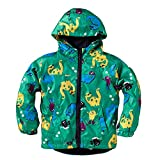 Waterproof Hooded Raincoat Lightweight Outdoor Rain Jacket Snowproof Pants for Boy and Girl Green