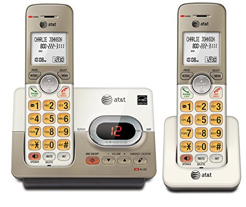 AT&T EL52213 2 Handset Cordless Answering System With Caller ID/Call Waiting, Silver (Home Phones Cordless Big Numbers)