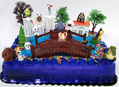 Secret Life of Pets Birthday Cake Topper Set Featuring Character Figures and Decorative Accessories