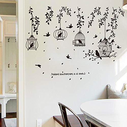 Pared de fondo pared mesa de comedor pintura de pared pegatina mesa de comedor 3d estereo etiqueta de la pared-Tree Vine Bird Cage_Big