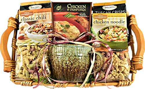 Warm And Cozy, Gourmet Gift Basket with Over-Sized Soup Bowl, Chili Mix, Chicken Noodle Soup, Chicken and Dumplings Mix and Guormet Crackers, 6 Pounds (Best Dumplings In Miami)
